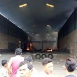 Gudang mebel Telung Abadi di Rt 1 Rw 1 milik Moh Yasin (43) di Desa Banjaran, Bangsri, Jepara, Saat terbakar.