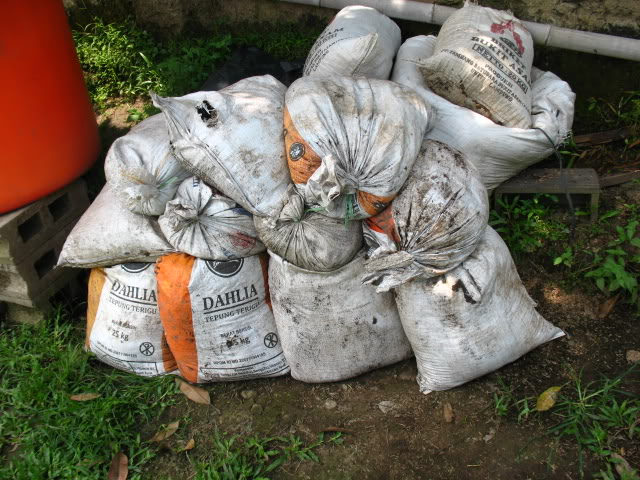 Karung Berisi Tanah Untuk Tambal Tanggul di Tegalsambi Jebol